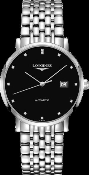 Damenuhr Longines Elegant Automatik 39mm mit Diamanten, schwarzem Zifferblatt und Edelstahlarmband