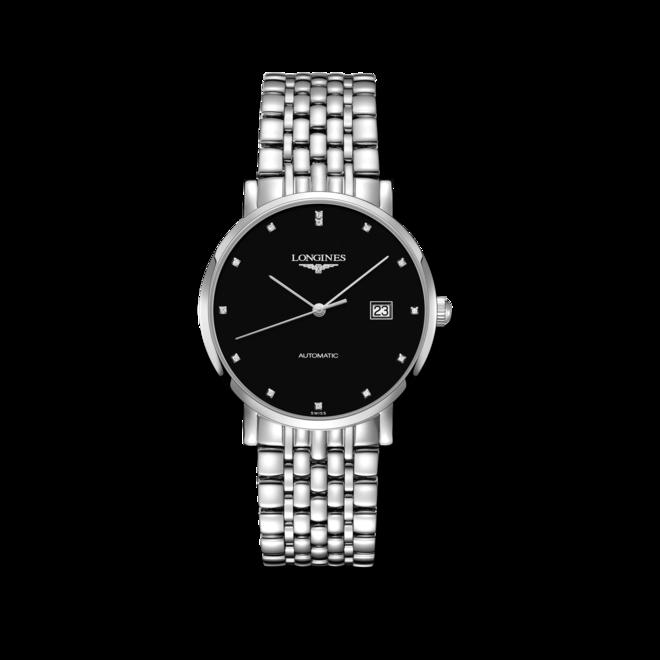 Damenuhr Longines Elegant Automatik 39mm mit Diamanten, schwarzem Zifferblatt und Edelstahlarmband bei Brogle