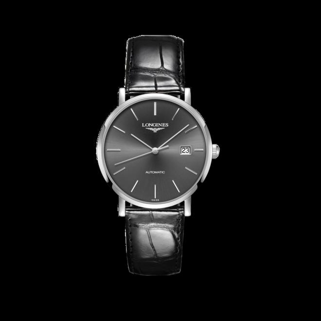 Armbanduhr Longines Elegant Automatik 39mm mit grauem Zifferblatt und Alligatorenleder-Armband bei Brogle