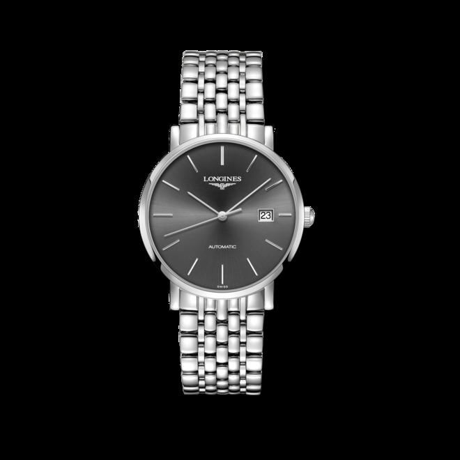 Armbanduhr Longines Elegant Automatik 39mm mit grauem Zifferblatt und Edelstahlarmband bei Brogle