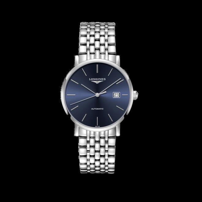 Armbanduhr Longines Elegant Automatik 39mm mit blauem Zifferblatt und Edelstahlarmband bei Brogle