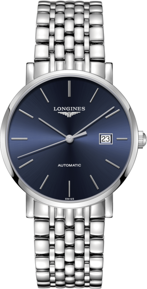 Armbanduhr Longines Elegant Automatik 39mm mit blauem Zifferblatt und Edelstahlarmband