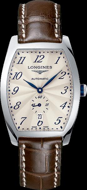 Armbanduhr Longines Evidenza Automatik L mit silberfarbenem Zifferblatt und Alligatorenleder-Armband