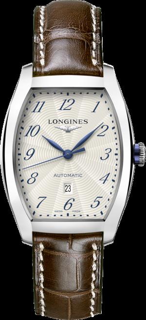 Armbanduhr Longines Evidenza Automatik M mit weißem Zifferblatt und Alligatorenleder-Armband