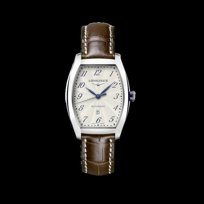 Armbanduhr Longines Evidenza Automatik M mit weißem Zifferblatt und Alligatorenleder-Armband bei Brogle