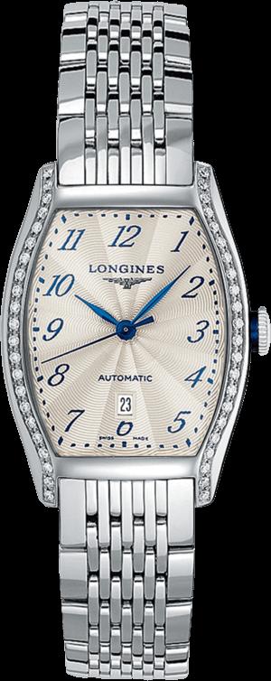 Damenuhr Longines Evidenza Automatik S mit Diamanten, silberfarbenem Zifferblatt und Edelstahlarmband