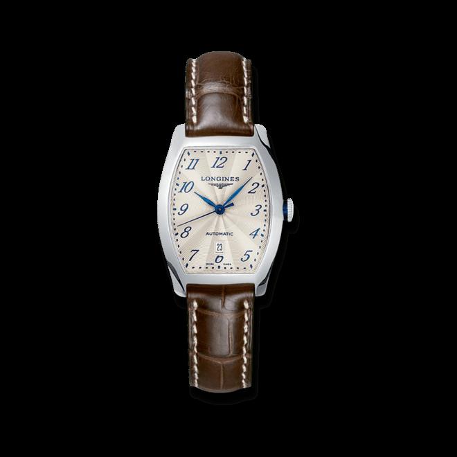 Damenuhr Longines Evidenza Automatik S mit weißem Zifferblatt und Alligatorenleder-Armband bei Brogle