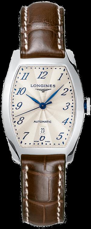 Damenuhr Longines Evidenza Automatik S mit weißem Zifferblatt und Alligatorenleder-Armband