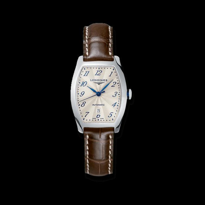 Damenuhr Longines Evidenza Automatik 26x30,6mm mit weißem Zifferblatt und Alligatorenleder-Armband