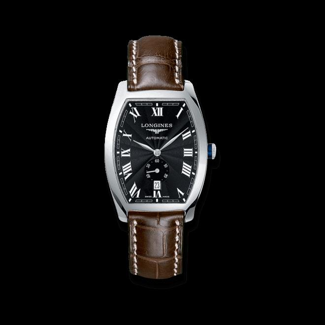 Herrenuhr Longines Evidenza Automatik L mit schwarzem Zifferblatt und Alligatorenleder-Armband