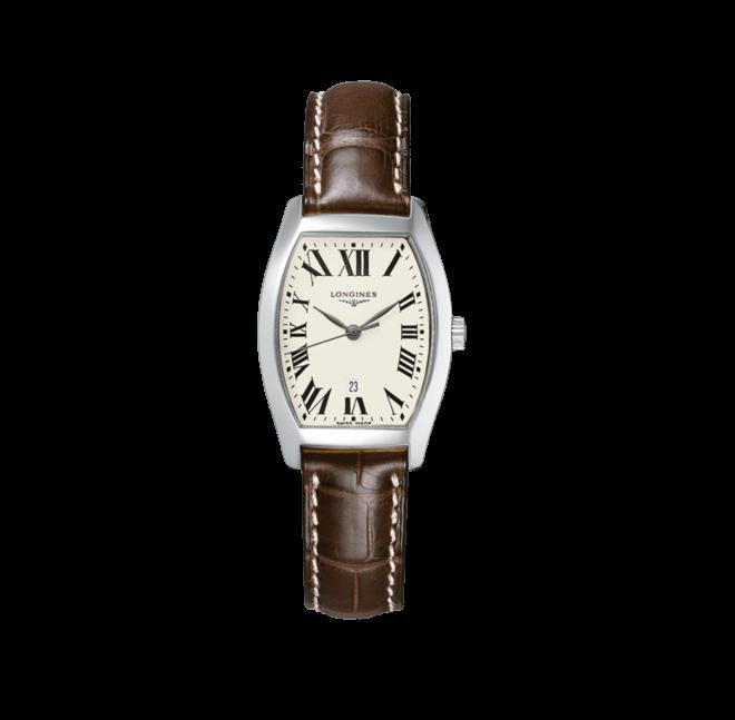 Damenuhr Longines Evidenza Quarz M mit silberfarbenem Zifferblatt und Alligatorenleder-Armband bei Brogle