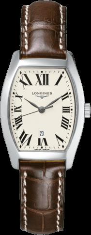 Damenuhr Longines Evidenza Quarz M mit silberfarbenem Zifferblatt und Alligatorenleder-Armband