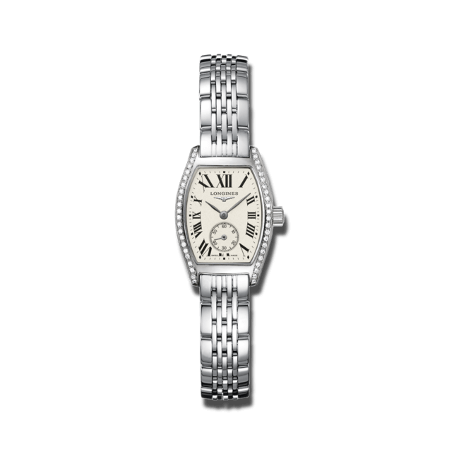 Damenuhr Longines Evidenza Quarz S mit Diamanten, silberfarbenem Zifferblatt und Edelstahlarmband bei Brogle