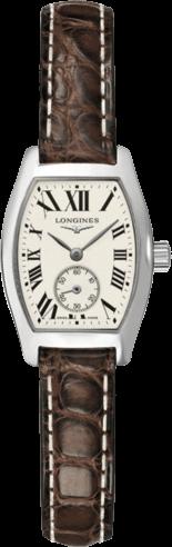 Damenuhr Longines Evidenza Quarz S mit silberfarbenem Zifferblatt und Alligatorenleder-Armband