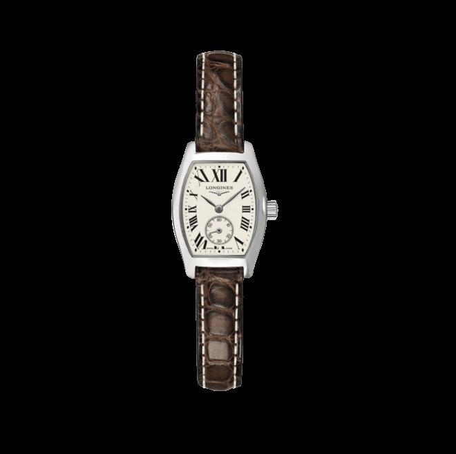 Damenuhr Longines Evidenza Quarz S mit silberfarbenem Zifferblatt und Alligatorenleder-Armband bei Brogle