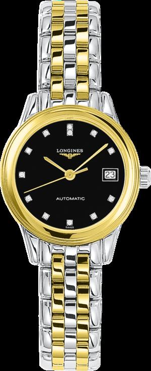 Damenuhr Longines Flagship Automatik 26mm mit Diamanten, schwarzem Zifferblatt und Edelstahlarmband