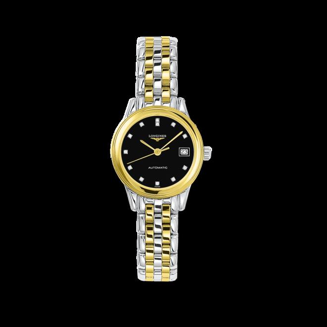 Damenuhr Longines Flagship Automatik 26mm mit Diamanten, schwarzem Zifferblatt und Edelstahlarmband bei Brogle
