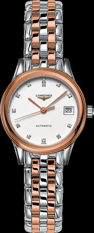 Damenuhr Longines Flagship Automatik 26mm mit Diamanten, weißem Zifferblatt und Edelstahlarmband