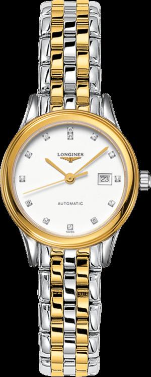 Damenuhr Longines Flagship Automatik 30mm mit Diamanten, gelbgoldfarbenem Zifferblatt und Edelstahlarmband