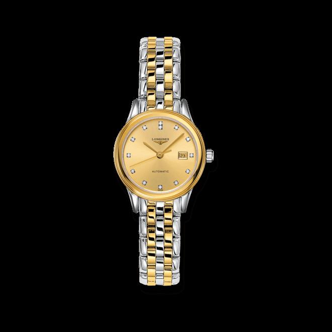 Damenuhr Longines Flagship Automatik 30mm mit Diamanten, gelbgoldfarbenem Zifferblatt und Edelstahlarmband bei Brogle