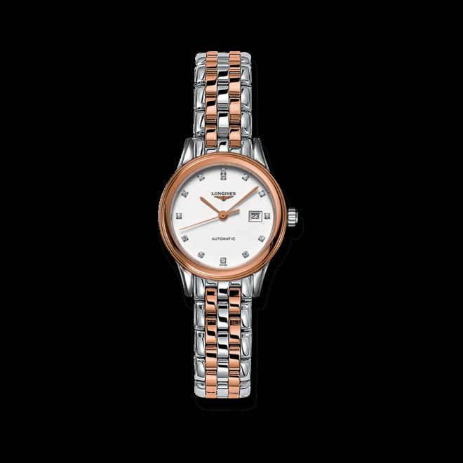 Damenuhr Longines Flagship Automatik 30mm mit Diamanten, weißem Zifferblatt und Edelstahlarmband