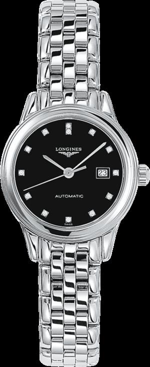 Damenuhr Longines Flagship Automatik 30mm mit Diamanten, schwarzem Zifferblatt und Edelstahlarmband