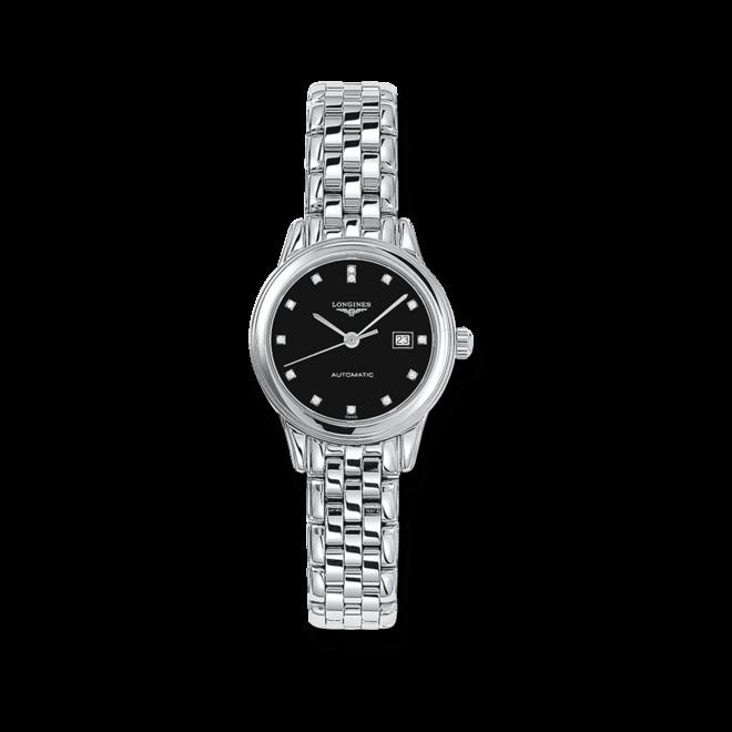 Damenuhr Longines Flagship Automatik 30mm mit Diamanten, schwarzem Zifferblatt und Edelstahlarmband bei Brogle