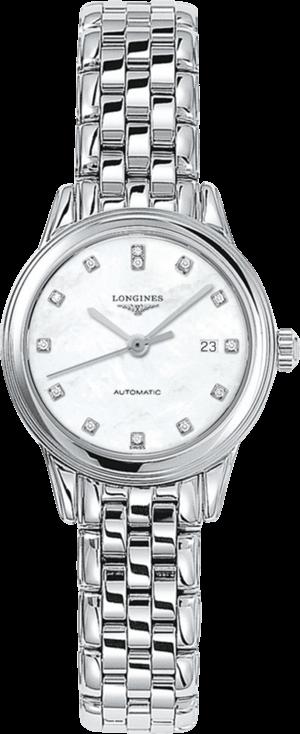 Damenuhr Longines Flagship Automatik 30mm mit Diamanten, perlmuttfarbenem Zifferblatt und Edelstahlarmband