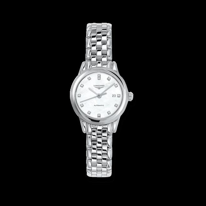 Damenuhr Longines Flagship Automatik 30mm mit Diamanten, perlmuttfarbenem Zifferblatt und Edelstahlarmband bei Brogle