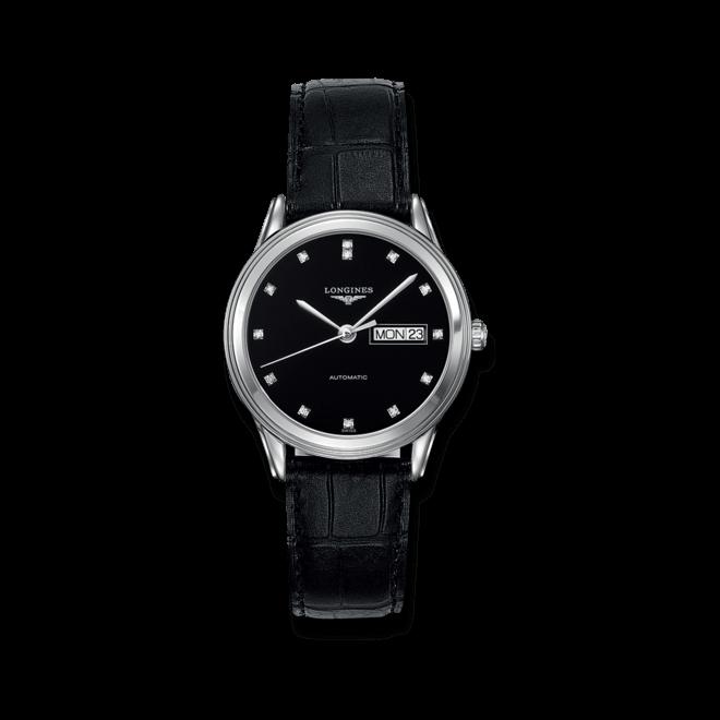 Armbanduhr Longines Flagship Automatik 38,5mm mit Diamanten, schwarzem Zifferblatt und Alligatorenleder-Armband bei Brogle