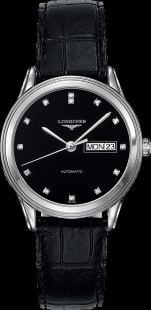 Armbanduhr Longines Flagship Automatik 38,5mm mit Diamanten, schwarzem Zifferblatt und Alligatorenleder-Armband