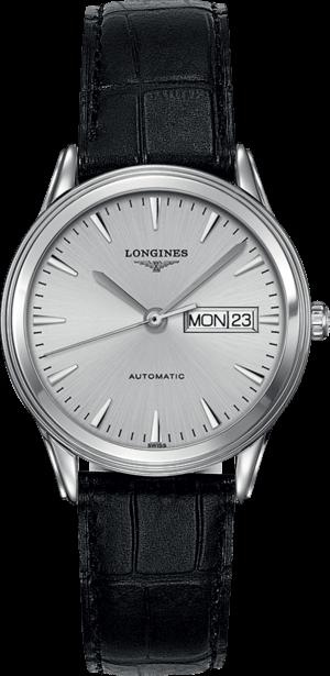 Armbanduhr Longines Flagship Automatik 38,5mm mit silberfarbenem Zifferblatt und Alligatorenleder-Armband