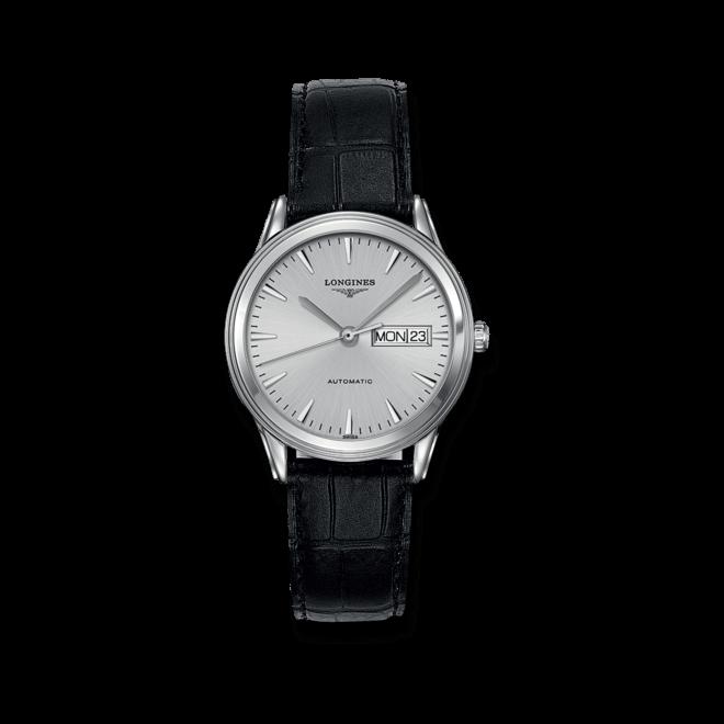 Armbanduhr Longines Flagship Automatik 38,5mm mit silberfarbenem Zifferblatt und Alligatorenleder-Armband bei Brogle