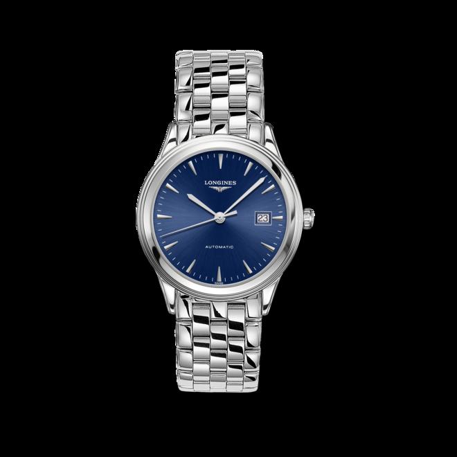 Armbanduhr Longines Flagship Automatik 38,5mm mit blauem Zifferblatt und Edelstahlarmband bei Brogle