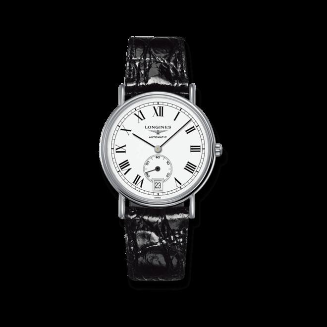 Herrenuhr Longines La Grande Classique Automatik 38,5mm mit weißem Zifferblatt und Rindsleder-Armband