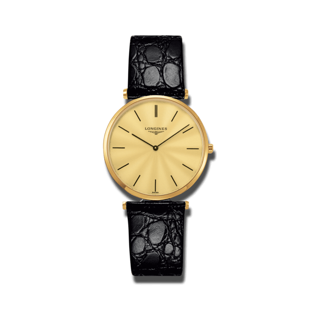 Damenuhr Longines La Grande Classique Quarz 31mm mit gelbgoldfarbenem Zifferblatt und Kalbsleder-Armband