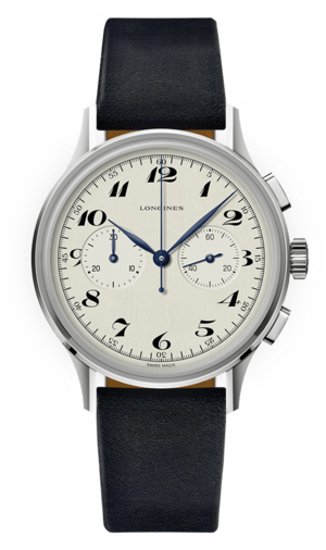 Herrenuhr Longines Automatik Chronograph 40mm mit silberfarbenem Zifferblatt und Kalbsleder-Armband
