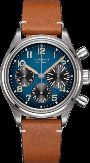 Herrenuhr Longines Avigation Big Eye Chronograph 41mm mit blauem Zifferblatt und Kalbsleder-Armband