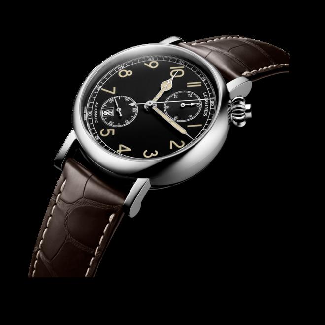 Herrenuhr Longines Avigation Watch Type A-7 1935 mit schwarzem Zifferblatt und Alligatorenleder-Armband bei Brogle