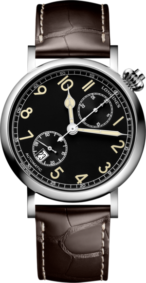 Herrenuhr Longines Avigation Watch Type A-7 1935 mit schwarzem Zifferblatt und Alligatorenleder-Armband