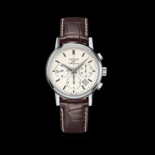 Herrenuhr Longines Column-Wheel Chronograph 39mm mit weißem Zifferblatt und Alligatorenleder-Armband