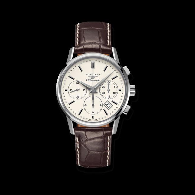 Herrenuhr Longines Column Wheel Chronograph Automatik 40mm mit silberfarbenem Zifferblatt und Krokodilleder-Armband