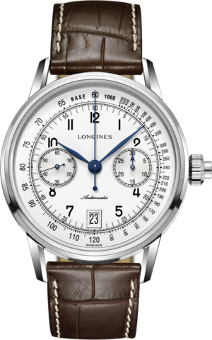 Herrenuhr Longines Column-Wheel Single Push-Piece Chronograph 41mm mit weißem Zifferblatt und Alligatorenleder-Armband