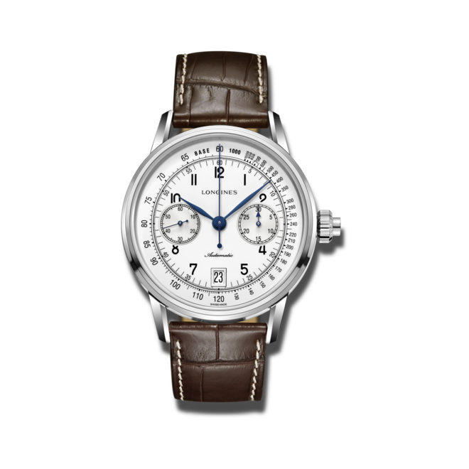 Herrenuhr Longines Column-Wheel Single Push-Piece Chronograph 41mm mit weißem Zifferblatt und Alligatorenleder-Armband bei Brogle