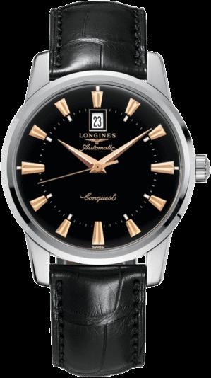Herrenuhr Longines Conquest Heritage 40mm mit schwarzem Zifferblatt und Alligatorenleder-Armband