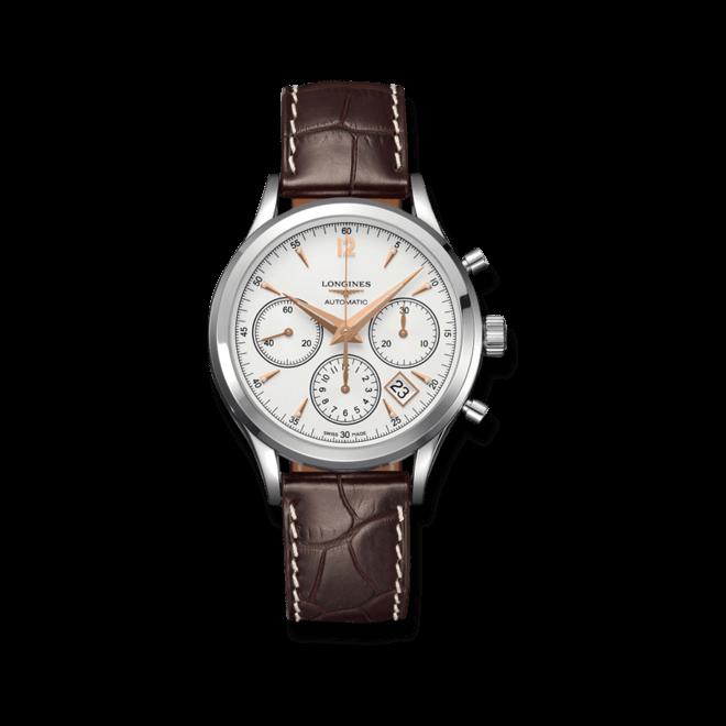 Herrenuhr Longines Heritage Automatik Chronograph 41mm mit weißem Zifferblatt und Kalbsleder-Armband