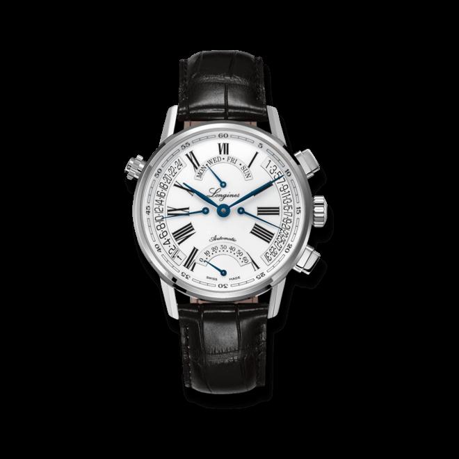 Armbanduhr Longines Heritage Automatik Retrograde 41mm mit weißem Zifferblatt und Alligatorenleder-Armband