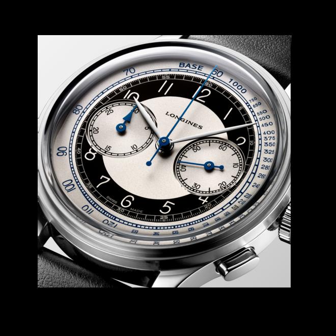 Herrenuhr Longines Heritage Classic Chronograph Tuxedo mit zweifarbigem Zifferblatt und Kalbsleder-Armband bei Brogle