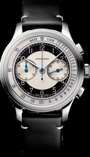 Herrenuhr Longines Heritage Classic Chronograph Tuxedo mit zweifarbigem Zifferblatt und Kalbsleder-Armband