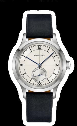 Armbanduhr Longines Heritage Classic mit silberfarbenem Zifferblatt und Kalbsleder-Armband